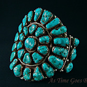 Vintage Navajo Turquoise & Sterling Cluster Bracelet - Signed