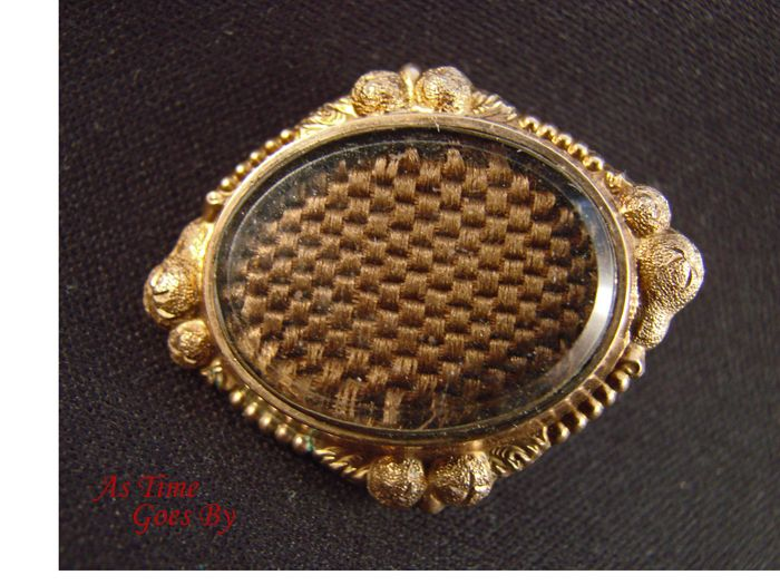 Victorian  Mourning Brooch - Hair