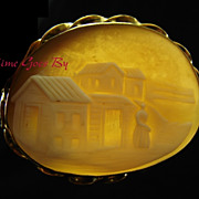 Antique Scenic Carved Shell Cameo Brooch