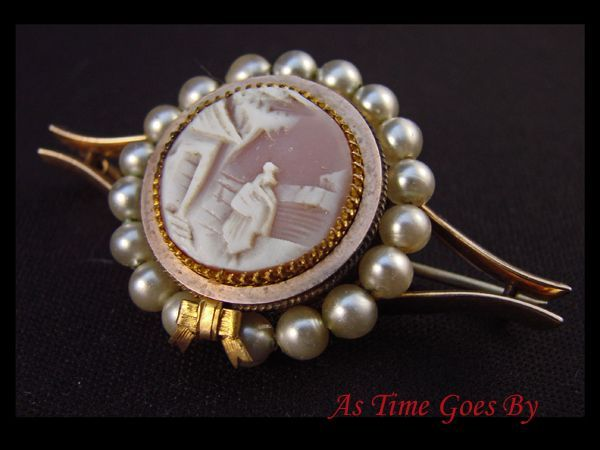 Cameo and Pearl Brooch