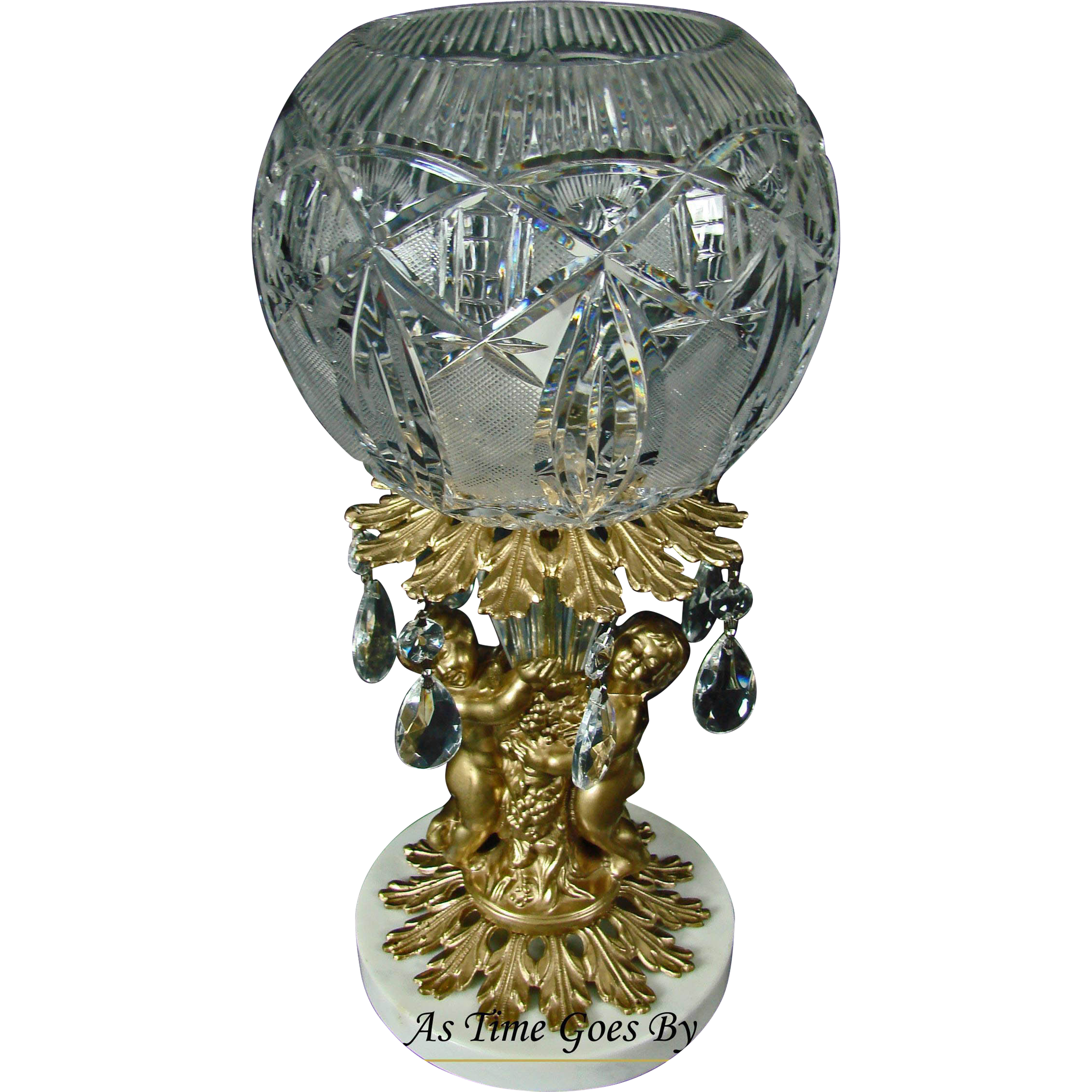 Crystal, Marble and Putti Vintage Table Lamp