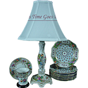 Vintage Dresden Hand Painted Porcelain Table Lamp - Thieme