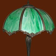 Early 20th Century Vintage Green Glass Table Lamp