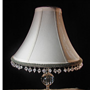 Vintage GlassTable  Lamp with Custom Hand Beaded Shade