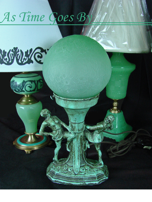 Figural Antique Lamp With Green Glass Globe From