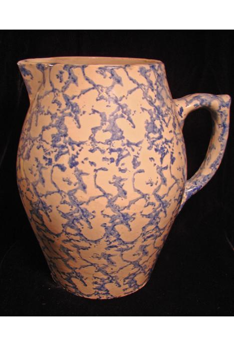 Antique Blue and White Sponge Pitcher, Yellow Ware