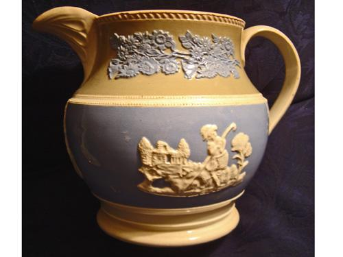RARE Early Pearlware Large Banded Pitcher