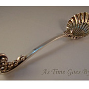 Antique English Sterling Fancy Scroll Handled Reticulated Shell Shaped Spoon