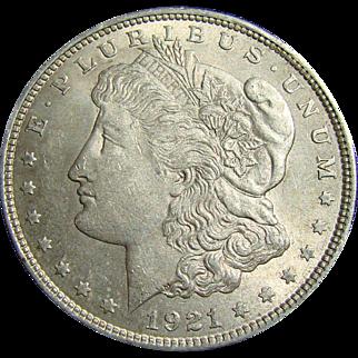 Brilliant Uncirculated 1921 Siver dollar