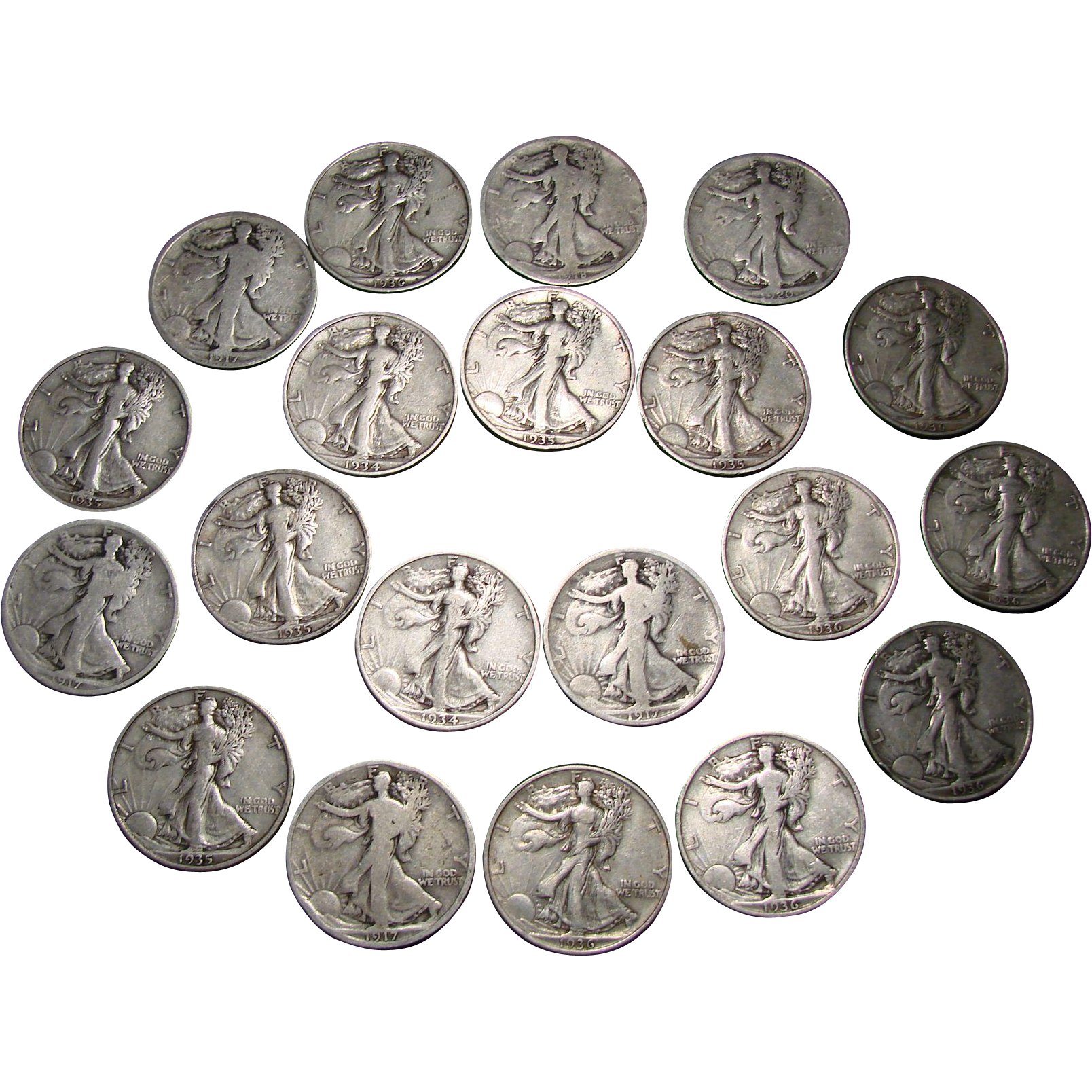 Twenty Silver Walking Liberty Half Dollars- One Roll