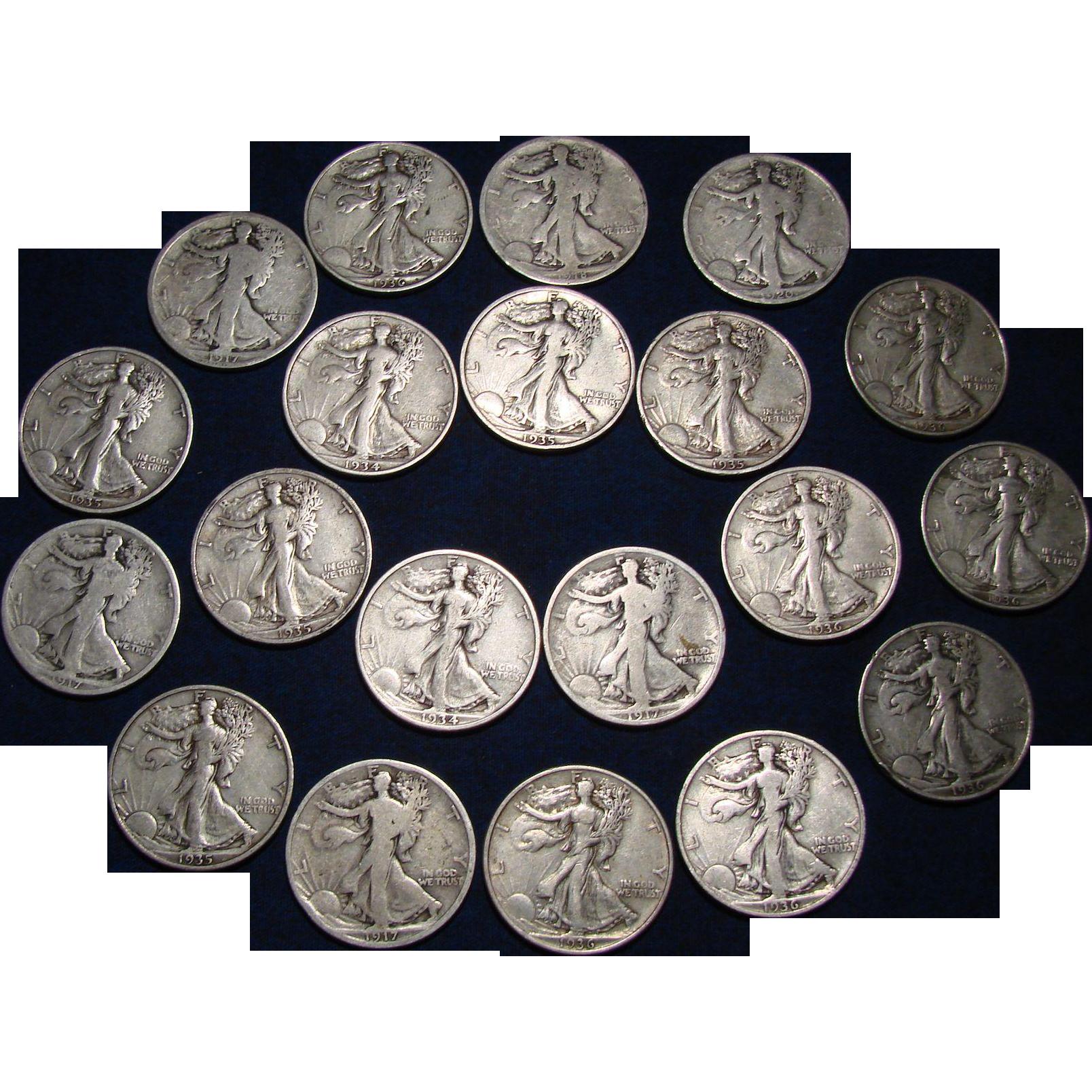 Twenty Silver Walking Liberty Half Dollars- One Roll