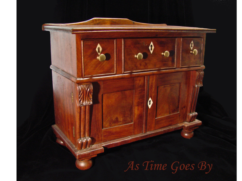Miniature George IV Mahogony Sideboard with Ivory Escutcheons