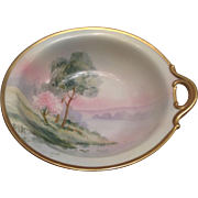 """Nippon Handpainted Landscape Bowl with 1 Handle 8"""" c.1900"""