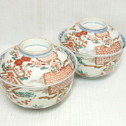 Pair Japanese Imari Covered Bowls c.1830