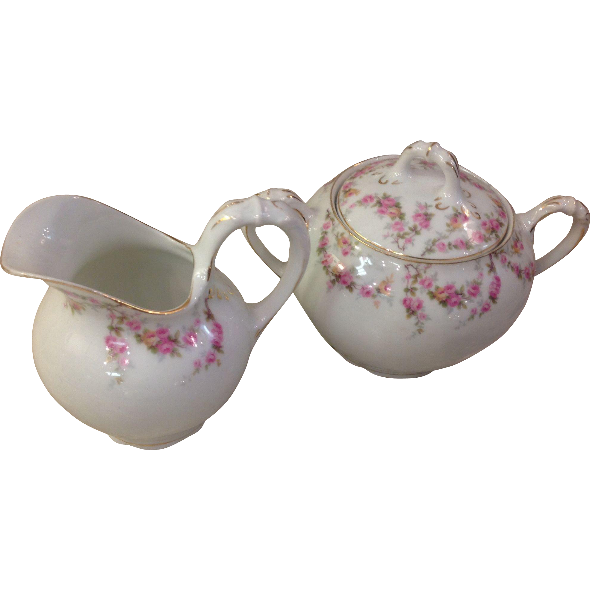 Royal Schwarzburg China RSC15 Sugar & Creamer Pink Rose Garland Design c.1915