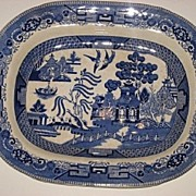 "Blue Willow Buffalo Pottery 14"" Platter 1909"