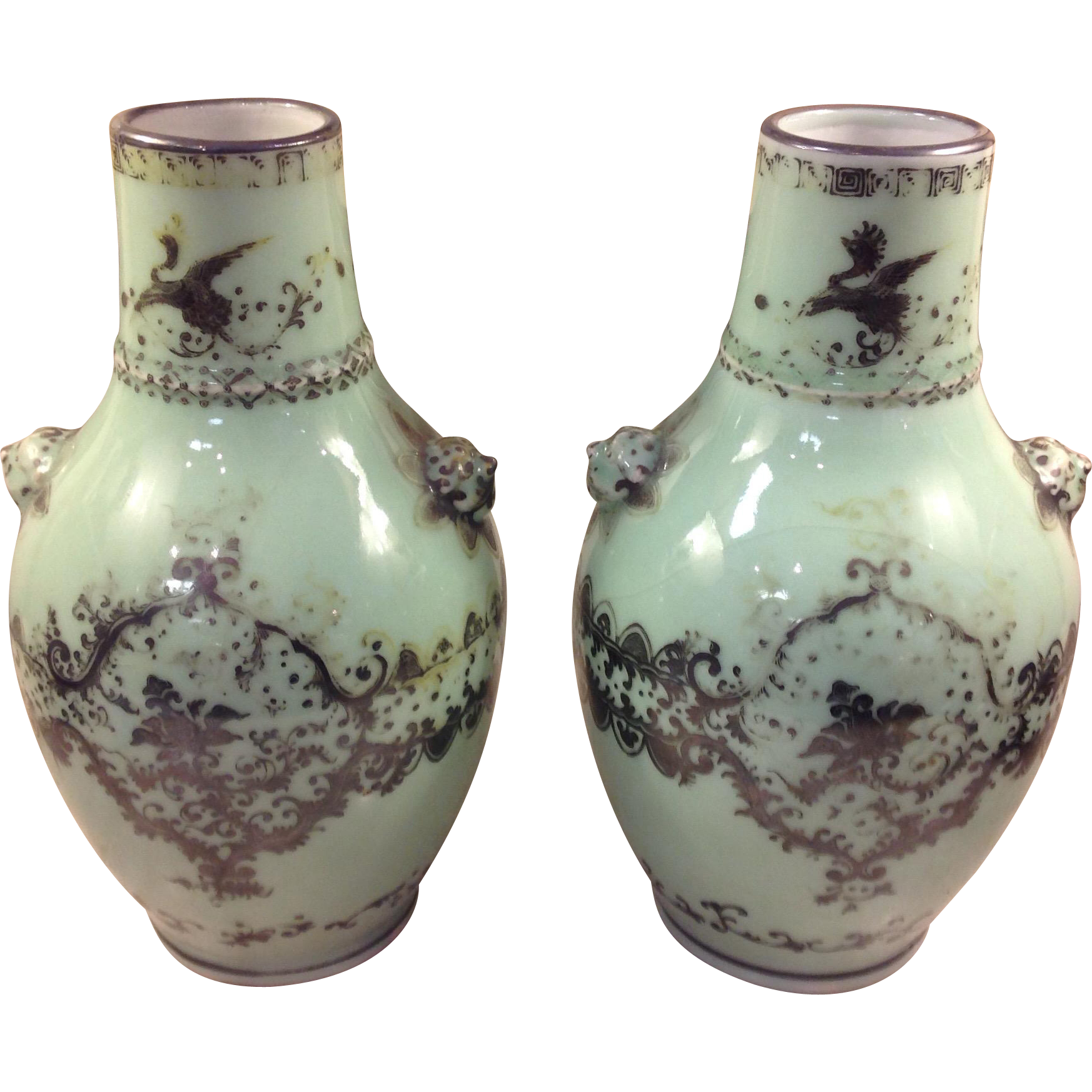 Antique 19th cen. Chinese Vases in Rare Celadon Green color