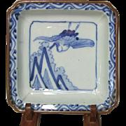 Japanese Imari Tsuru Square Dish, c.1880