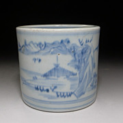 Japanese Imari Incense Pot Blue & White Landscape c.1850