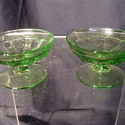 Pr. Heisey Green Nut/Almond Dishes, signed