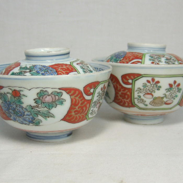 Pr. Japanese Imari Covered Rice Bowls c.1830