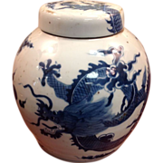 19th Cen. Chinese Dragon Pot Blue & White