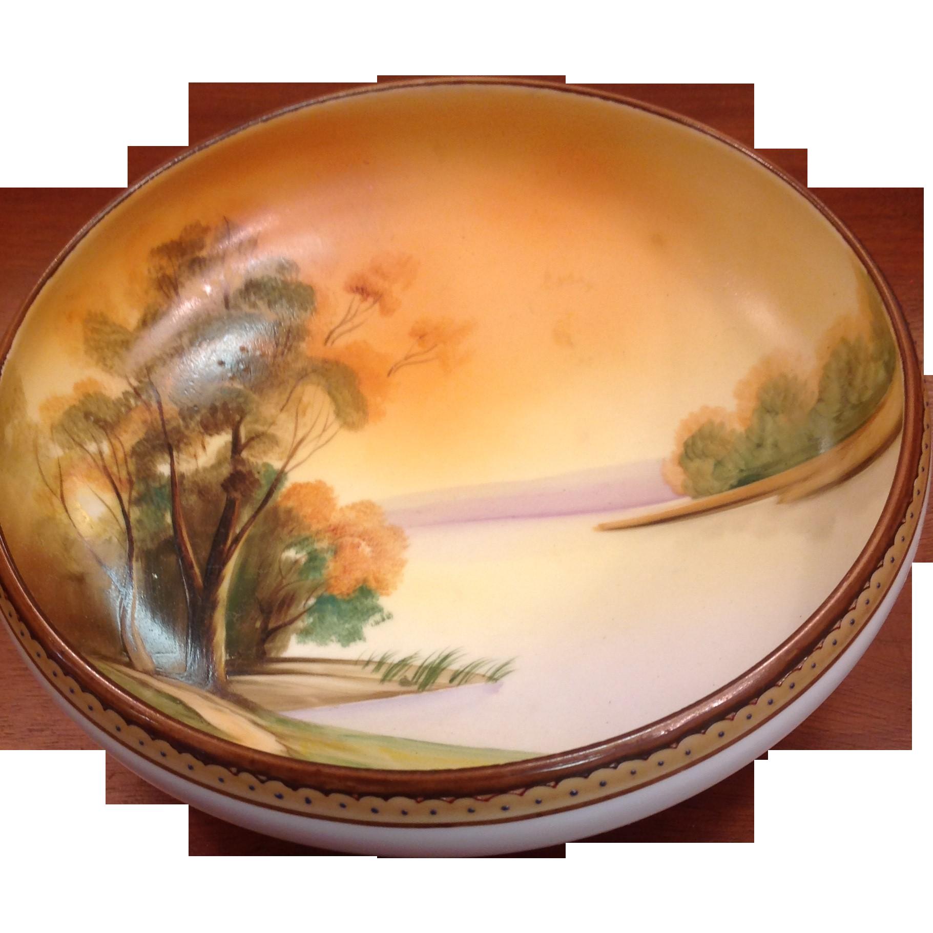 "Nippon Handpainted Bowl 7 1/2"" Dia. Landscape Scene"