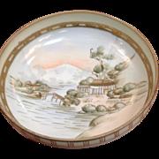 "Nippon Handpainted Bowl 6 1/4"" Dia. Landscape Scene"