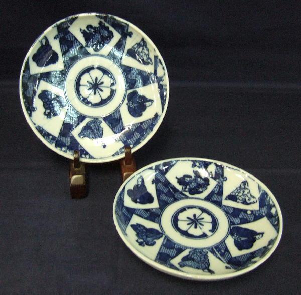 """Pair Japanese Imari 6"""" Tea Plates """"Rokkasen"""""""