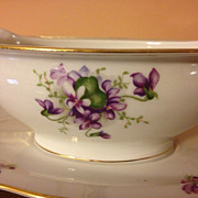 Rossetti Spring Violets Occupied Japan Gravy with attached Underplate 1945-1952