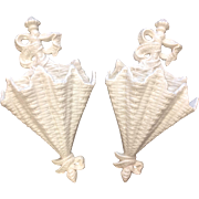 Pair Italian White Glazed Wall Urns, Basketweave Pattern & Bows