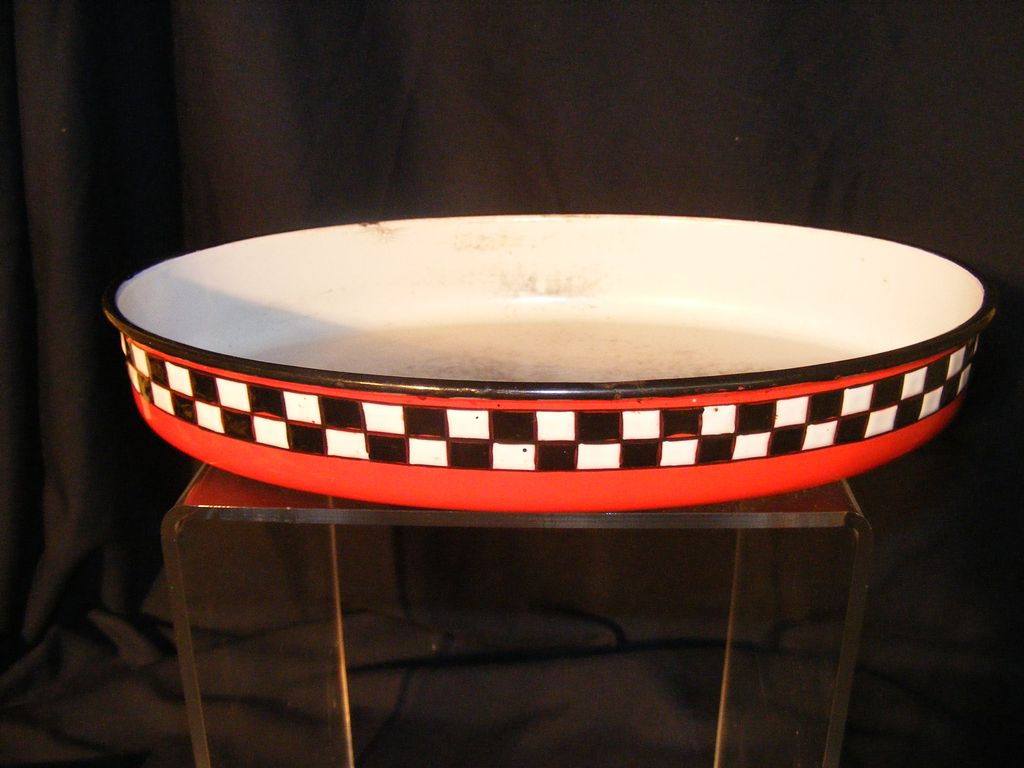 French Enamelware 20's/30's Black & White Checker on Red Oval Pan