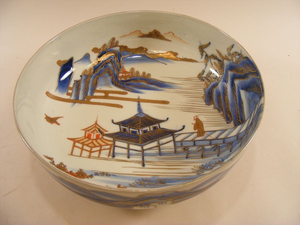 "Japanese Imari 10"" Bowl, c.1825, Somenishiki Landscape"
