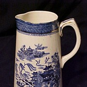 English Blue Willow Tankard Pitcher Gold Trim