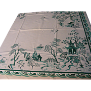 "Vintage Simtex 40's Tablecloth Green Willow Pattern 52"" x 66"" Cotton"