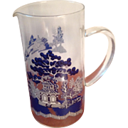 Blue Willow Glass Pitcher by Johnson Brothers England 44 Oz