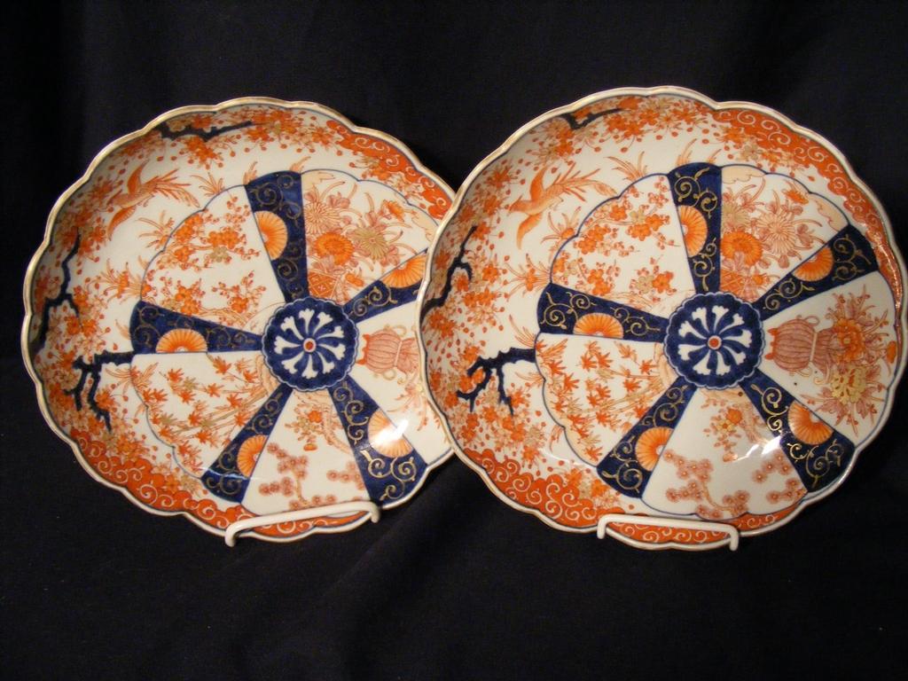 "Pr Japanese Imari Offset Shape Plates 10"""