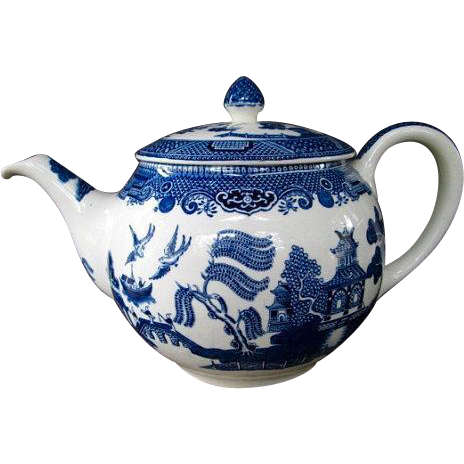 Vintage Blue Willow Teapot Johnson Bros. English