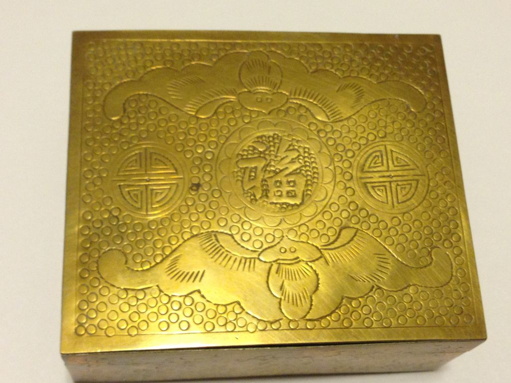 Chinese Brass Cigarette Box 1920's