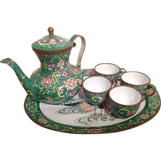 Vintage Chinese Enameled Cloisonne Tea Set with Tray Green Pink Floral