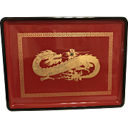 "Vintage OTAGIRI 14""x10.5"" Red Dragon Lacqured Tray Hand Crafted Japan"