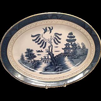"Nikko Double Phoenix Blue Willow Occupied Japan 1945-1952 Platter 16"" x 11 3/4"""