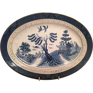 "Nikko Double Phoenix Blue Willow Occupied Japan 1945-1952 Platter 14"" x 10"""