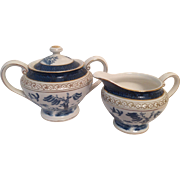 Nikko Double Phoenix Blue Willow Occupied Japan 1945-1952 Sugar & Creamer