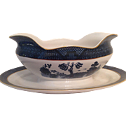 Nikko Double Phoenix Blue Willow Occupied Japan 1945-1952 Gravy Boat