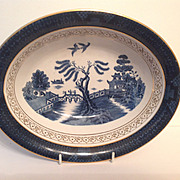 Nikko Double Phoenix Blue Willow Occupied Japan 1945-1952 Oval Veg. Bowl 10.5""