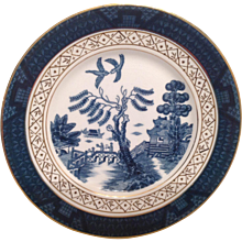Nikko Double Phoenix Blue Willow Occupied Japan 1945-1952 Salad Plate 7 1/4""