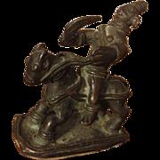 Vintage Tibetan Bronze Statue Warrior On Horse.