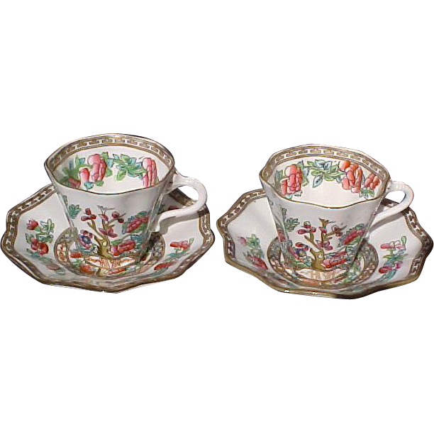 Pr. Coalport Indian Tree Scalloped Edge Demi Cups & Saucers
