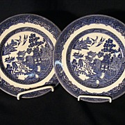 "Pr Johnson Brothers Blue Willow 7 3/4"" Salad Plates"